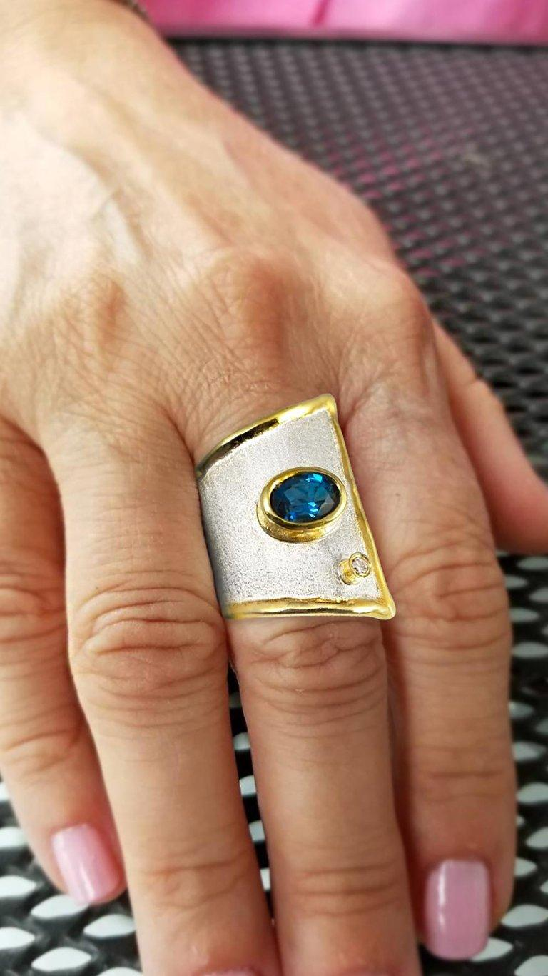 Oval Cut Yianni Creations Blue Topaz and Diamond Fine Silver and 24 Karat Gold Wide Ring For Sale