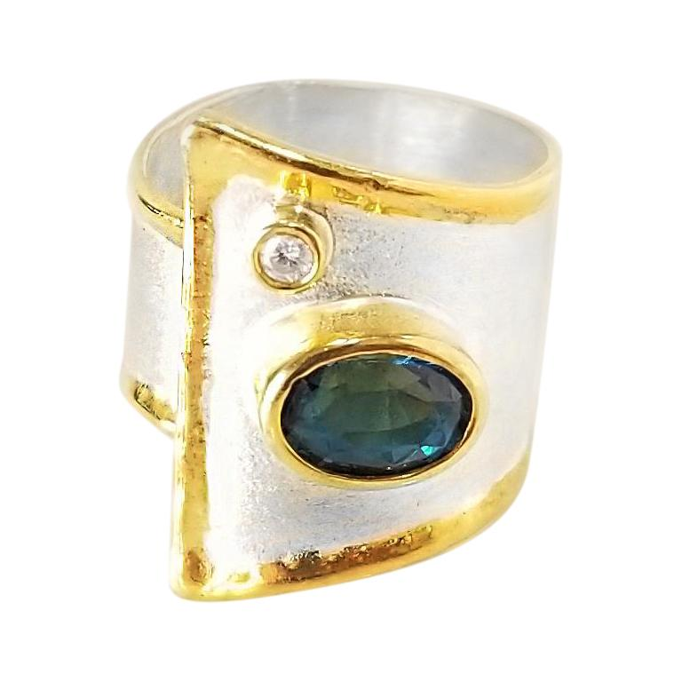 Yianni Creations Blue Topaz and Diamond Fine Silver and 24 Karat Gold Wide Ring For Sale