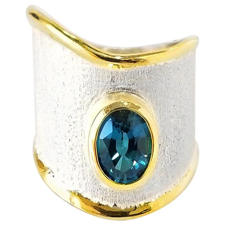 Yianni Creations Blue Topaz Fine Silver 24 Karat Gold Handcrafted Wide Band Ring