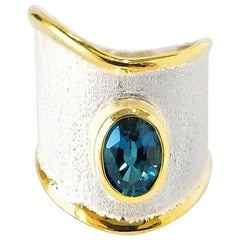 Yianni Creations 1.60 Carat Topaz Fine Silver 24 Karat Gold Handcrafted Ring
