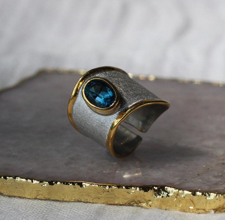 Yianni Creations Blue Topaz Fine Silver 24 Karat Gold Adjustable Wide Band Ring For Sale 7