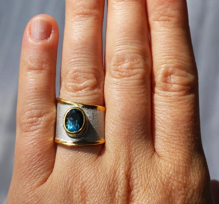 Yianni Creations Blue Topaz Fine Silver 24 Karat Gold Adjustable Wide Band Ring For Sale 3