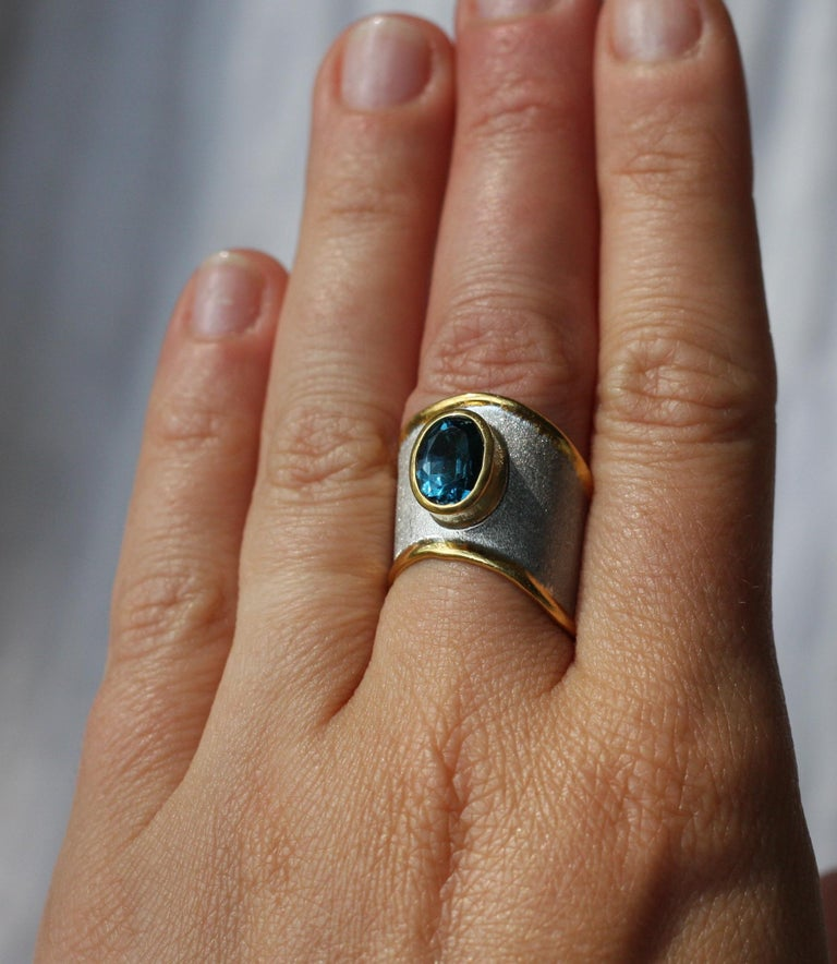 Women's Yianni Creations Blue Topaz Fine Silver 24 Karat Gold Adjustable Wide Band Ring For Sale