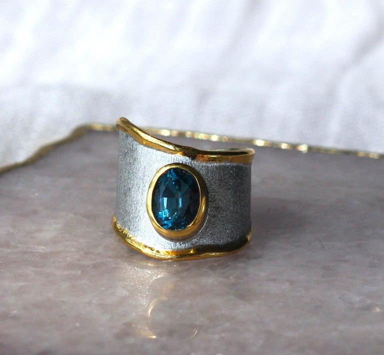 Yianni Creations Blue Topaz Fine Silver 24 Karat Gold Adjustable Wide Band Ring For Sale 1