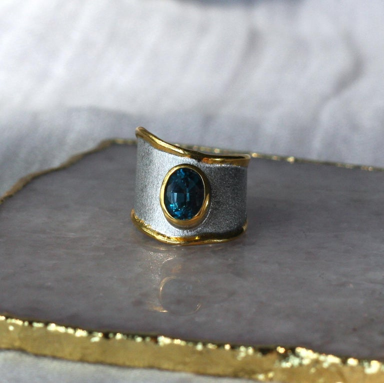 Yianni Creations Blue Topaz Fine Silver 24 Karat Gold Adjustable Wide Band Ring For Sale 2