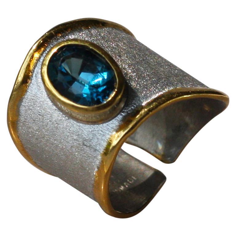 Yianni Creations Blue Topaz Fine Silver 24 Karat Gold Adjustable Wide Band Ring For Sale