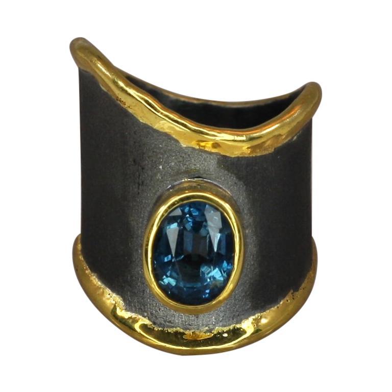 Yianni Creations Topaz Fine Silver 24 Karat Gold Black Rhodium Wide Band Ring