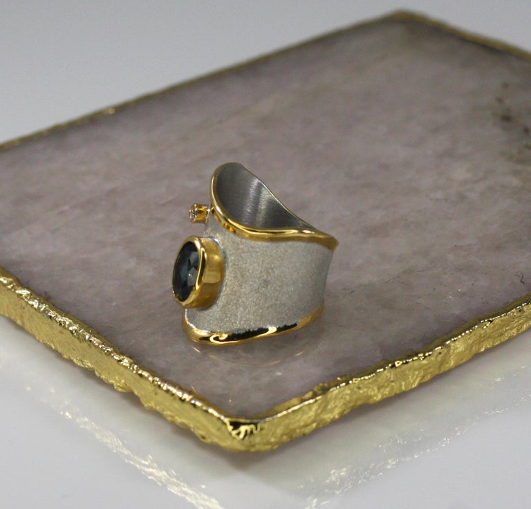 Oval Cut Yianni Creations 1.60 Carat Topaz Ring with Diamond in Fine Silver and Pure Gold For Sale