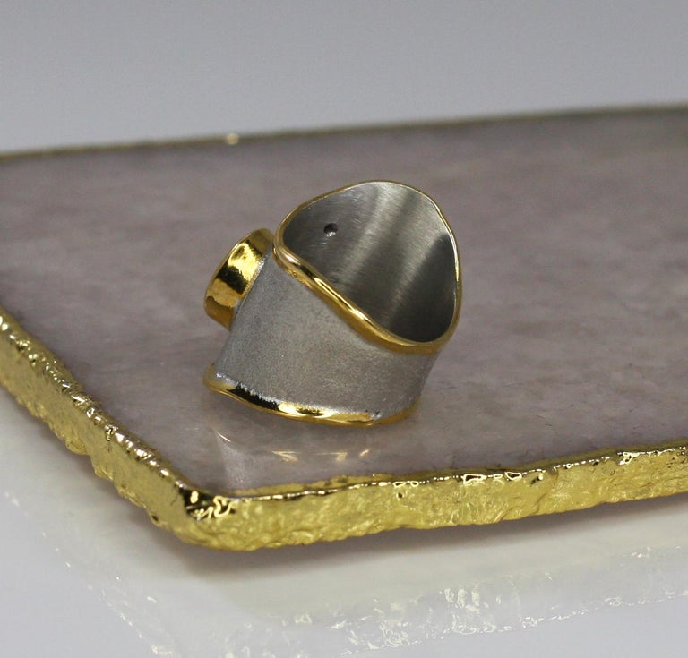 Yianni Creations 1.60 Carat Topaz Ring with Diamond in Fine Silver and Pure Gold In New Condition For Sale In Astoria, NY