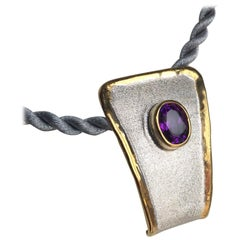 Yianni Creations 1.75 Carat Amethyst Fine Silver and 24 Karat Gold Pendant