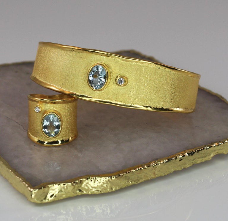 Yianni Creations Yellow Gold 18 Karat Aquamarine and Diamond Wide Band Ring For Sale 5
