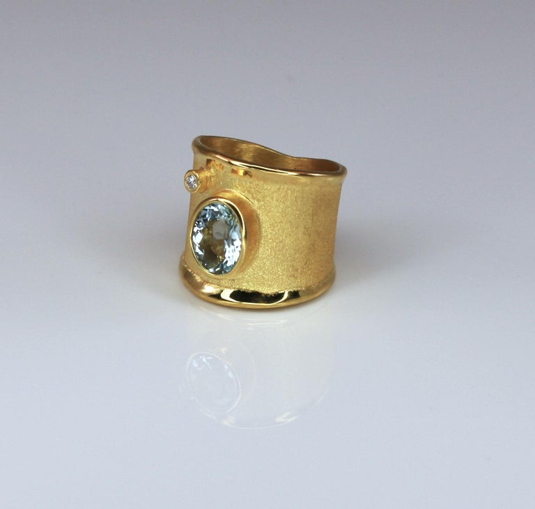 Yianni Creations Yellow Gold 18 Karat Aquamarine and Diamond Wide Band Ring For Sale 6