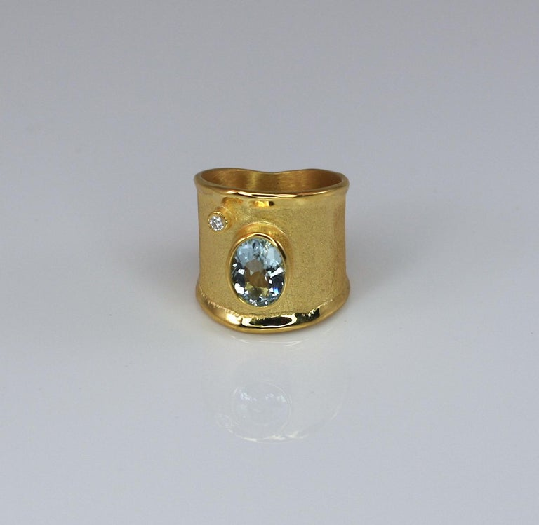 Yianni Creations Yellow Gold 18 Karat Aquamarine and Diamond Wide Band Ring For Sale 7