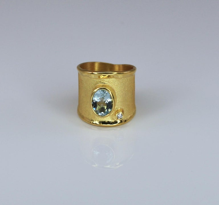 Yianni Creations Yellow Gold 18 Karat Aquamarine and Diamond Wide Band Ring For Sale 9