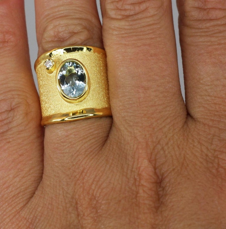 Oval Cut Yianni Creations Yellow Gold 18 Karat Aquamarine and Diamond Wide Band Ring For Sale