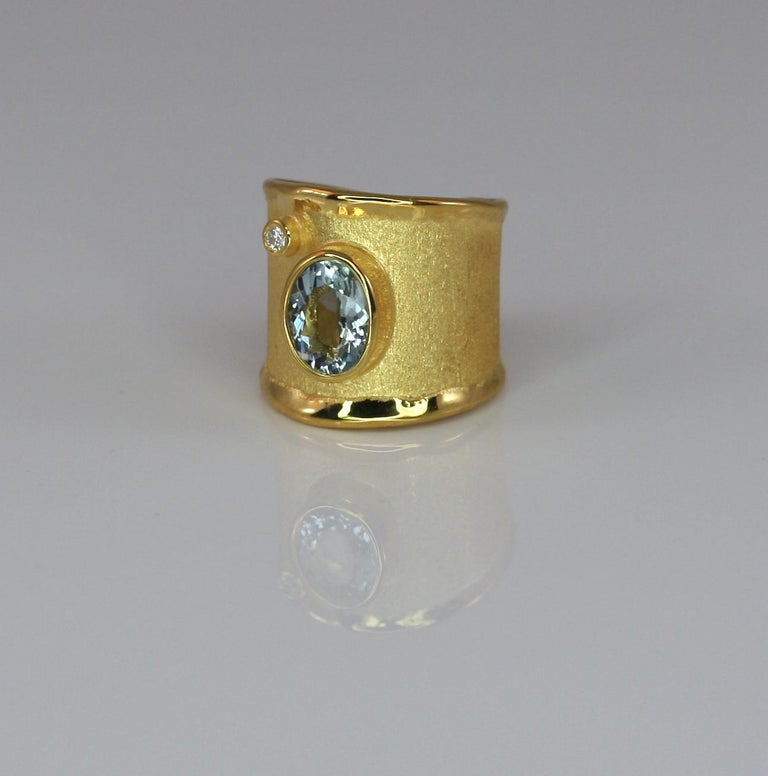 Yianni Creations Yellow Gold 18 Karat Aquamarine and Diamond Wide Band Ring In New Condition For Sale In Astoria, NY