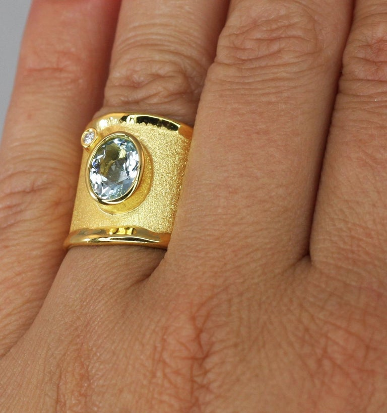Yianni Creations Yellow Gold 18 Karat Aquamarine and Diamond Wide Band Ring For Sale 4