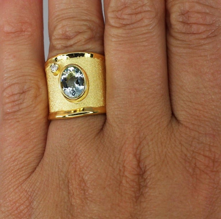Yianni Creations Yellow Gold 18 Karat Aquamarine and Diamond Wide Band Ring For Sale 8