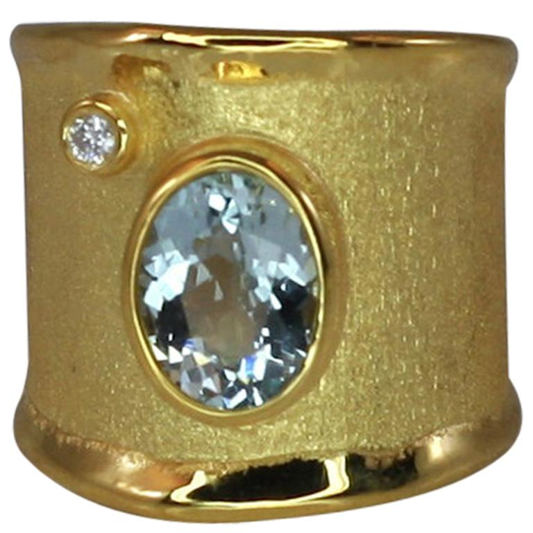 Yianni Creations Yellow Gold 18 Karat Aquamarine and Diamond Wide Band Ring For Sale