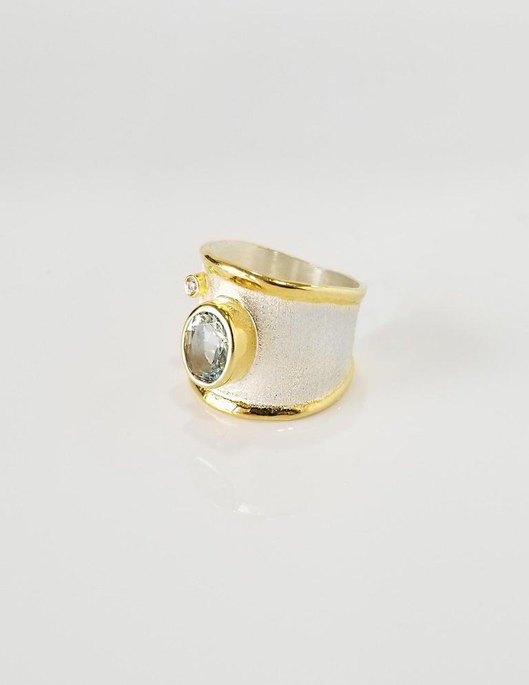 Contemporary Yianni Creations 1.75 Carat Aquamarine Diamond Fine Silver 24 Karat Gold Ring For Sale