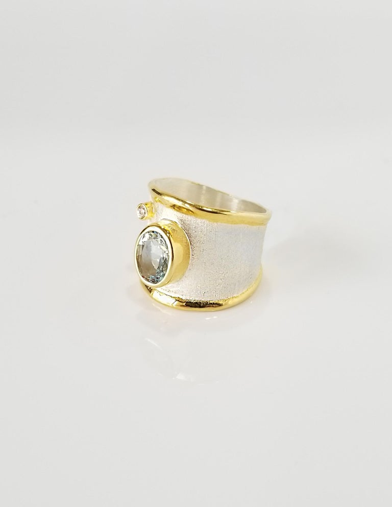 Oval Cut Yianni Creations Aquamarine Diamond Fine Silver 24 Karat Gold Wide Band Ring For Sale