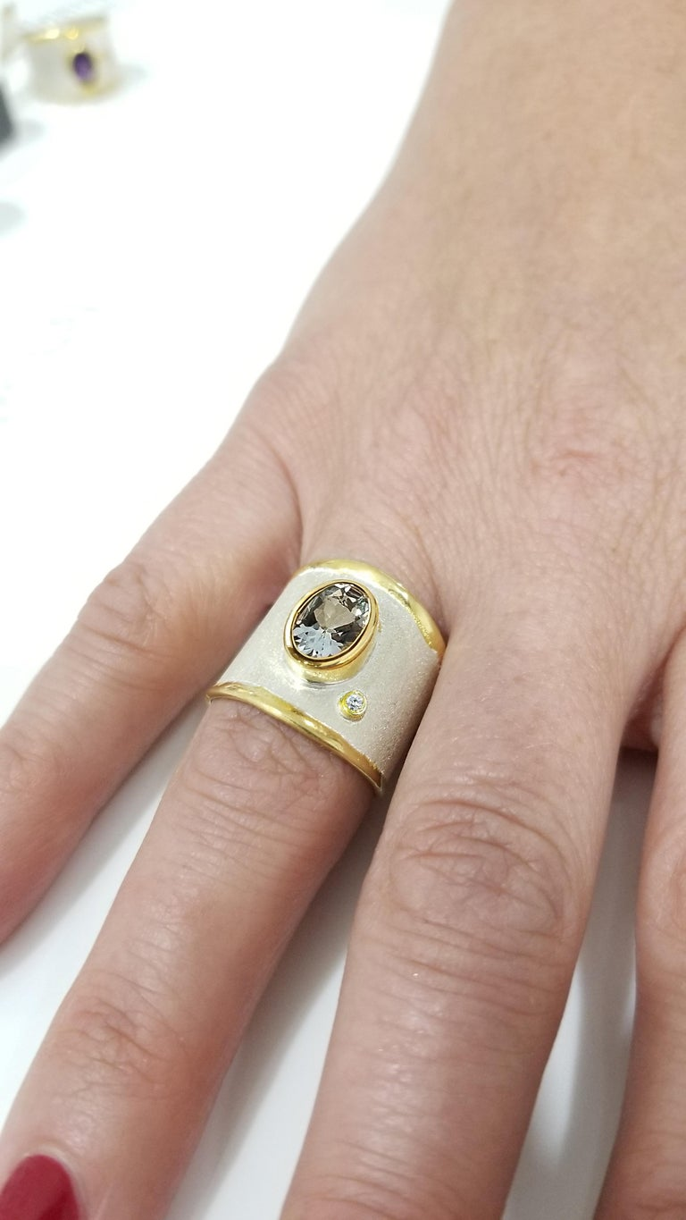 Contemporary Yianni Creations Aquamarine Diamond Fine Silver 24 Karat Gold Wide Band Ring For Sale