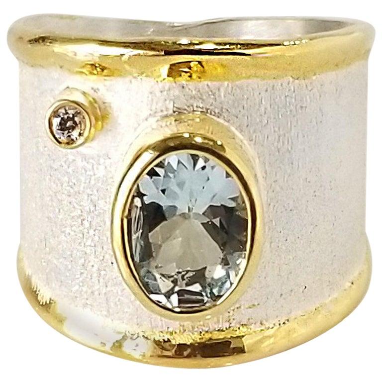 Yianni Creations Aquamarine Diamond Fine Silver 24 Karat Gold Wide Band Ring For Sale