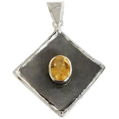 Yianni Creations 1.75 Carat Citrine Fine Silver and Rhodium Pendant Enhancer
