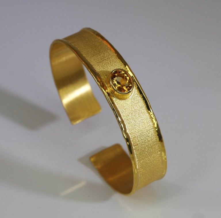 Oval Cut Yianni Creations 18 Karat Gold Bangle Bracelet with Citrine For Sale