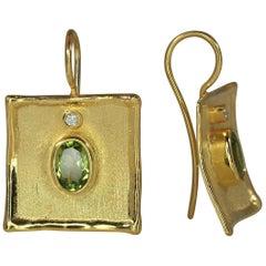 Yianni Creations 18 Karat Gold Earrings with 2.70 Carat Peridot and Diamonds