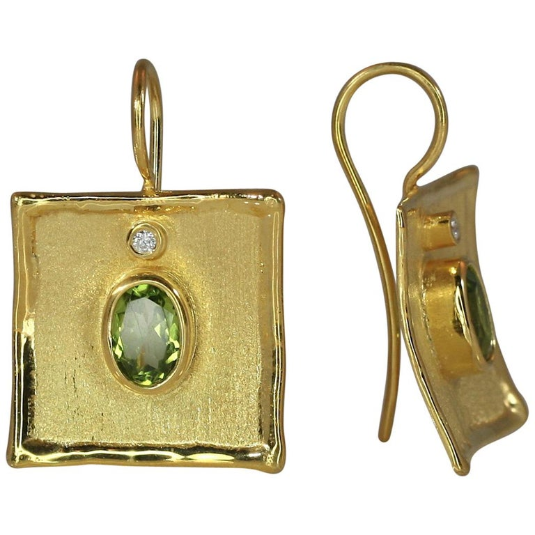 Yianni Creations 18 Karat Gold Earrings with 2.70 Carat Peridot and Diamonds For Sale