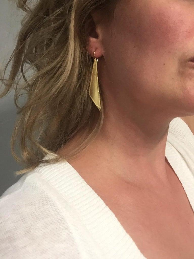 Yianni Creations 18 Karat Gold Handmade Triangular Earrings For Sale 2