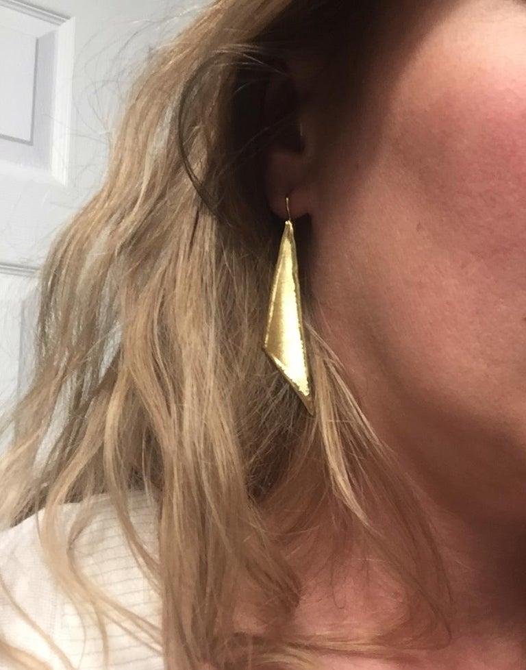 Yianni Creations 18 Karat Gold Handmade Triangular Earrings For Sale 3