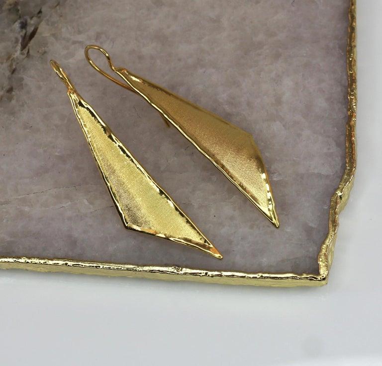 Yianni Creations 18 Karat Gold Handmade Triangular Earrings For Sale 4