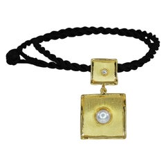 Yianni Creations 18 Karat Gold Square Dangle Pendant with Diamond and Pearl