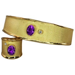Yianni Creations 18 Karat Solid Gold Diamond Bracelet and Ring Set with Amethyst