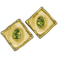 Yianni Creations 18 Karat Yellow Gold Square Shape Stud Peridot Earrings