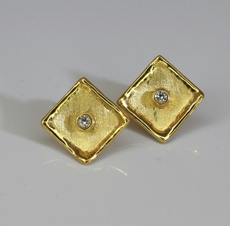 Yianni Creations 18 Karat Yellow Gold Stud Earrings with Diamonds For Sale 4