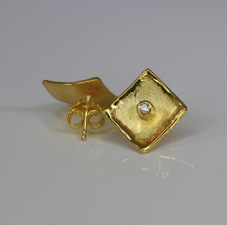 Yianni Creations 18 Karat Yellow Gold Stud Earrings with Diamonds For Sale 3