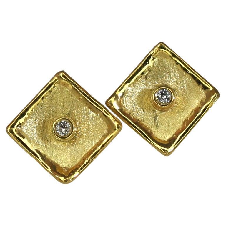 Yianni Creations 18 Karat Yellow Gold Stud Earrings with Diamonds For Sale