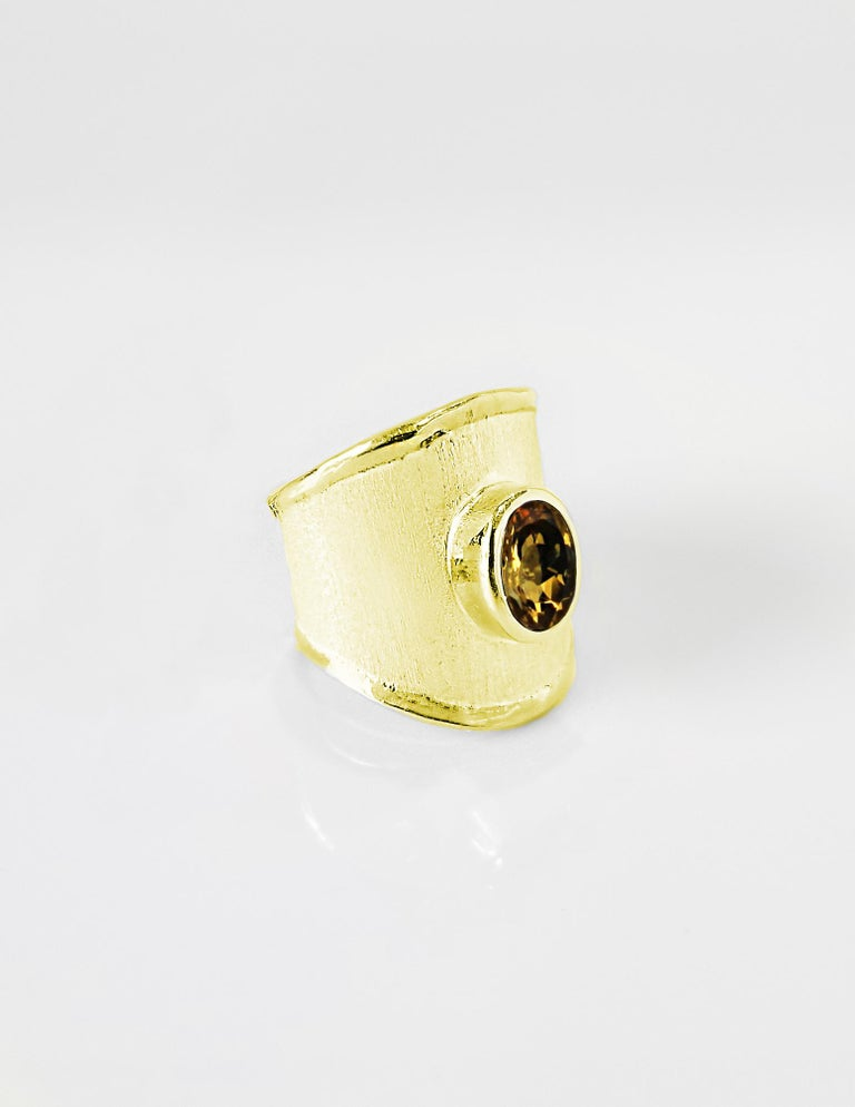Oval Cut Yianni Creations 18 Karat Yellow Gold Wide Band Ring with a Oval Citrine For Sale