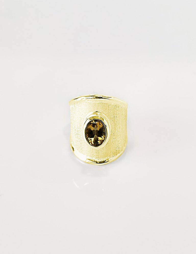 Yianni Creations 18 Karat Yellow Gold Wide Band Ring with a Oval Citrine For Sale 2