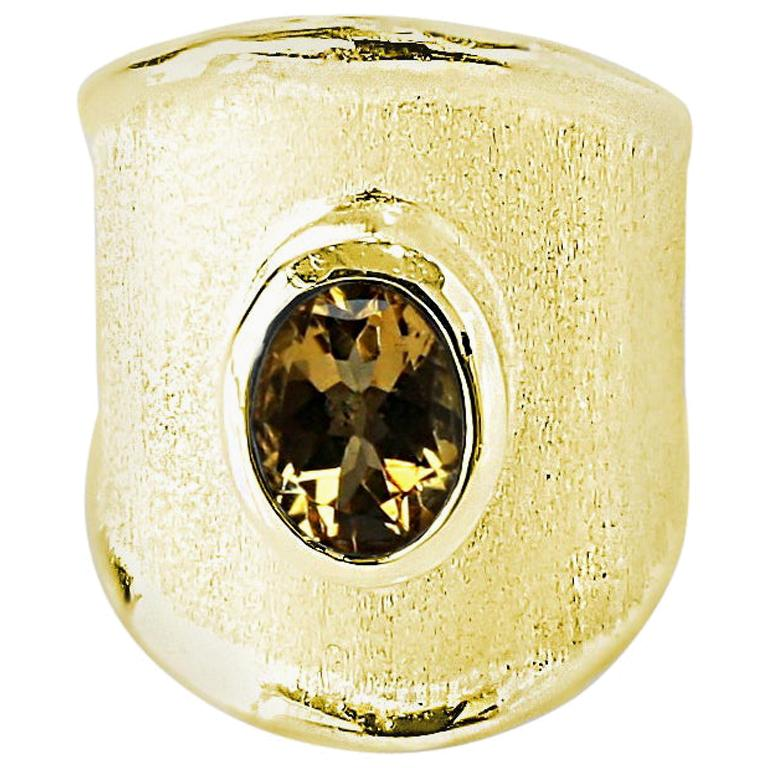 Yianni Creations 18 Karat Yellow Gold Wide Band Ring with a Oval Citrine For Sale