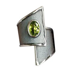Yianni Creations Peridot and Diamond Fine Silver and Black Rhodium Wide Ring