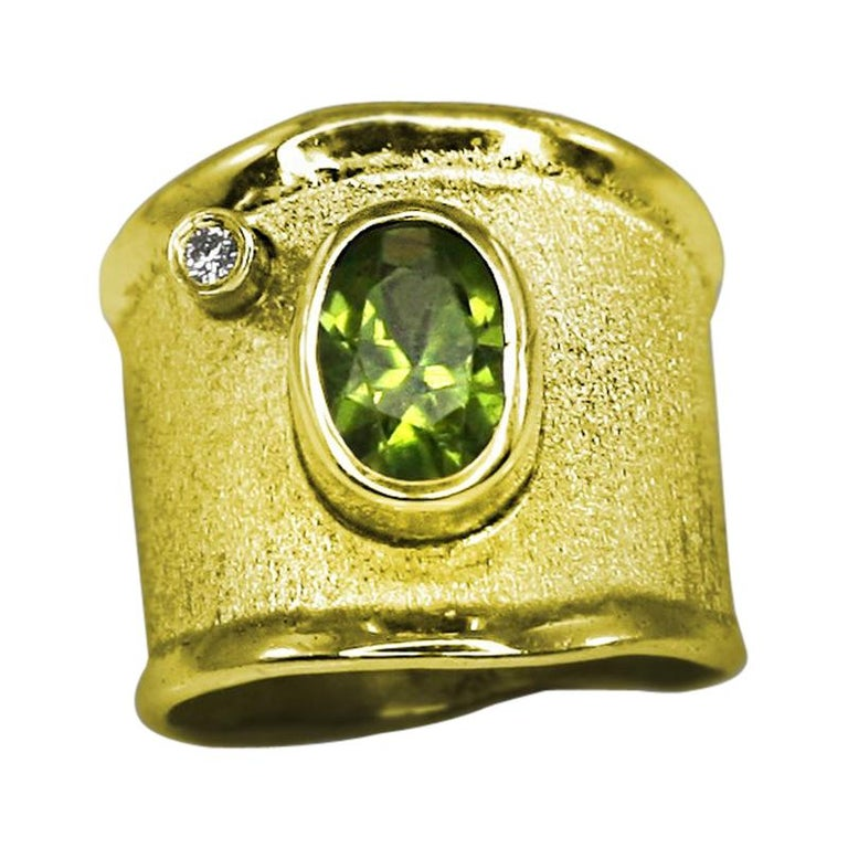 Yianni Creations 18 Karat Yellow Gold Peridot and Diamond Wide Band Ring For Sale