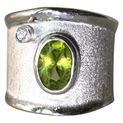 Yianni Creations Peridot and White Diamond in Fine Silver Wide Band Ring