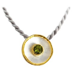 Yianni Creations 2.00 Carat Peridot Fine Silver and 24 Karat Gold Round Pendant