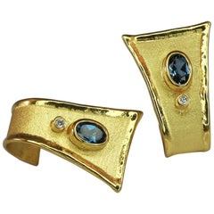 Yianni Creations 2.20 Carat Blue Topaz and Diamond Earrings in 18 Karat Gold