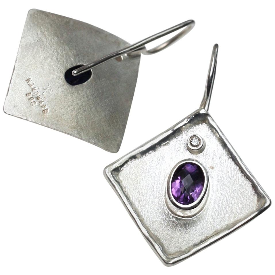 Yianni Creations 2.50 Carat Amethyst and Diamond Fine Silver Palladium Earrings