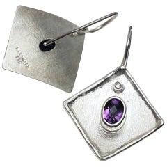 Yianni Creations Amethyst White Diamond Fine Silver Palladium Dangle Earrings